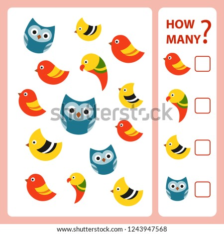 How many is educational game. Maths task for the development of logical thinking of children. Count as many birds in the picture and write down the result. Vector illustration