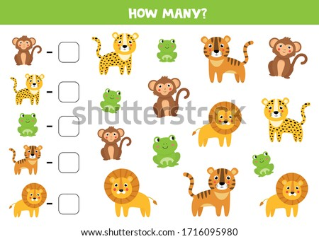 How many jungle animals are there. Count the number of animals. Math worksheet for kids. Foto d'archivio ©
