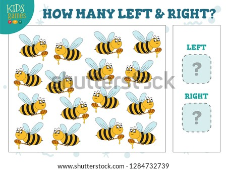How many left and right cartoon bees kids counting game vector illustration. Development activity for preschool children with counting objects