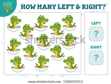 How many left and right cartoon crocodile in the egg kids counting game vector illustration. Development activity for preschool children with counting objects