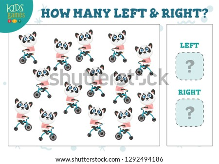 How many left and right cartoon panda on bicycle kids counting game vector illustration. Development activity for preschool children with counting objects