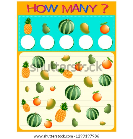 How many worksheet with many fruits