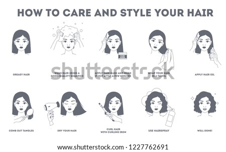 How to care for your hair and style them instruction. Hair treatment procedure. Dry with hairdryer, use oil and mask for health. Make curl with curling iron. Isolated line vector illustration