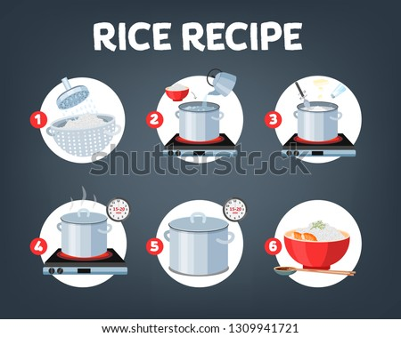 How to cook rice with few ingredients easy recipe. Instruction on rice making process for breakfast. Hot bowl with tasty food. Isolated flat vector illustration