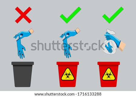 How to dispose of gloves that have the correct contaminated pathogens. How to throw away used gloves correctly to prevent the spread of germs. Foto stock ©