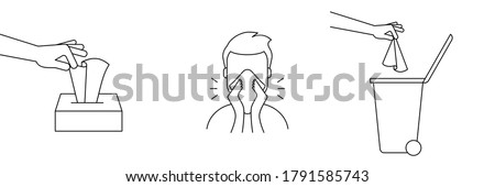 How to dispose of used tissues. Tissue box. Man with runny nose. Hand throws away paper tissues in closed garbage bin. Coronavirus prevention. Black outline icon. Vector illustration, flat, clip art.