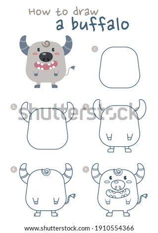 How to draw a buffalo vector illustration. Draw a buffalo step by step. Easy buffalo drawing guide. Cute and easy drawing guidebook.