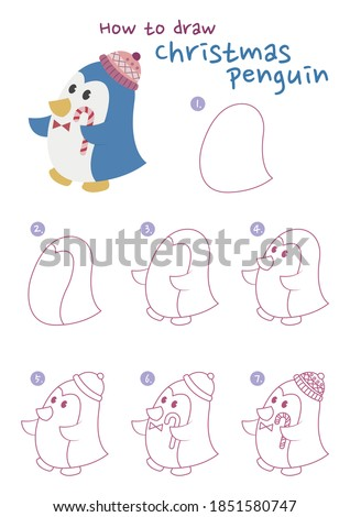How to draw a Christmas penguin vector illustration. Draw a penguin step by step. Christmas penguin drawing guide. Cute and easy drawing guidebook.