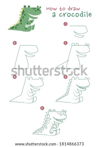 How to draw a crocodile vector illustration. Draw a alligator step by step. Crocodile drawing guide. Cute and easy drawing guidebook.