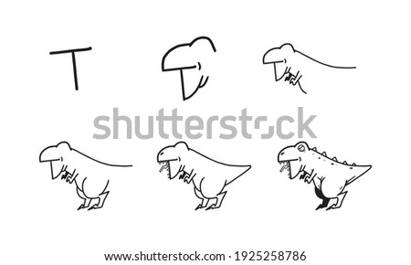how to draw a cute t rex from T step by step. easy and fun activity for kids development and creativity. tutorial of drawing animal and object from alphabet series in vector illustration.