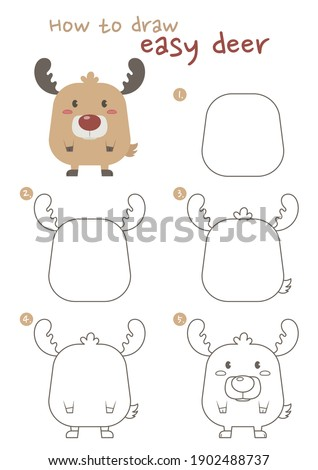 How to draw a deer vector illustration. Draw a reindeer step by step. fat reindeer drawing guide. Cute and easy drawing guidebook.