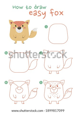 How to draw a fox vector illustration. Draw a fox step by step. Fat fox drawing guide. Cute and easy drawing guidebook.
