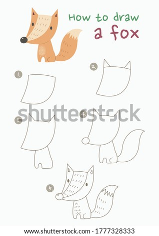 How to draw a fox vector illustration. Draw a fox step by step. Fox drawing guide. Cute and easy drawing guidebook.
