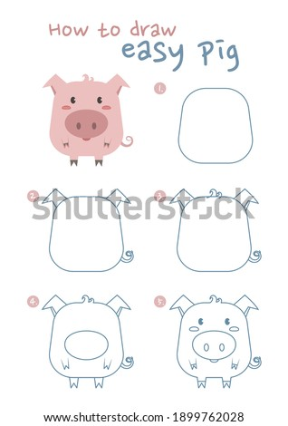 How to draw a pig vector illustration. Draw a pig step by step. Easy pig drawing guide. Cute and easy drawing guidebook.