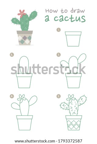 How to draw a pot of cactus plant vector illustration. Draw a pot of cactus plant step by step. Cactus plant drawing guide. Cute and easy drawing guidebook.
