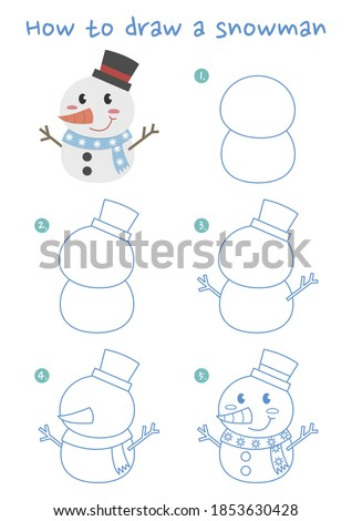 How to draw a snowman vector illustration. Draw a snowman step by step. Snowman drawing guide. Cute and easy drawing guidebook.