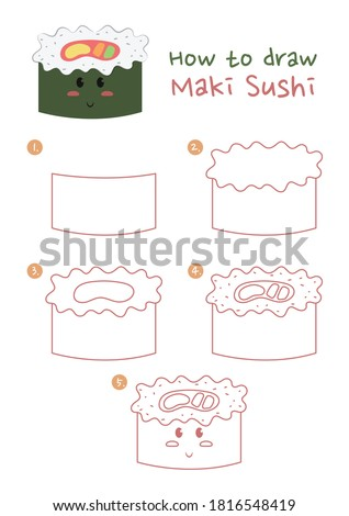 How to draw Maki Sushi Japanese food vector illustration. Draw Seaweed roll sushi step by step. Maki rice roll sushi drawing guide. Cute and easy drawing guidebook.