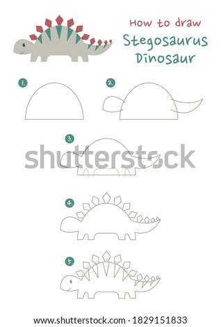 How to draw Stegosaurus dinosaur vector illustration. Draw a dinosaur step by step. Dinosaur eat plants drawing guide. Cute and easy drawing guidebook.