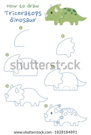 How to draw Triceratops dinosaur vector illustration. Draw a dinosaur step by step. Dinosaur eat plants drawing guide. Cute and easy drawing guidebook.