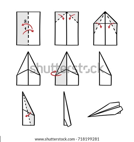 How to make a paper airplane instruction - isolated vector illustration