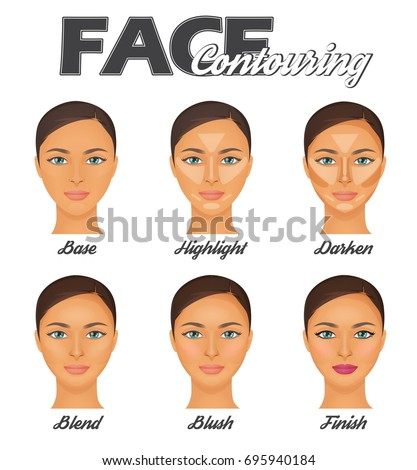 How to make perfect face contouring make-up tutorial chart. Highligter, bronzer and blush face correction techniques, pretty woman face model.