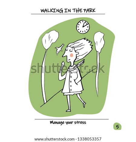 cdb81af10e How to manage stress, reduce stress at work. Walking in the Park. Vector