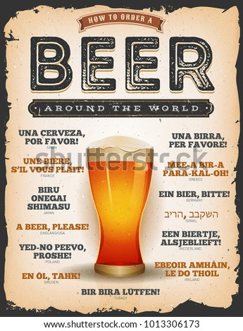 How To Order A Beer Around The World/ Illustration of a vintage poster with grunge texture, mouth watering beer glass, and a beer please text in many languages