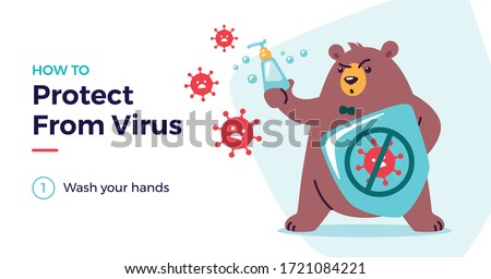 How to protect from virus vector illustration with a cute bear character. Protect from covid-19 virus for kids concept - children, wash your hands. Fight virus, defend from virus, avoid corona viruses