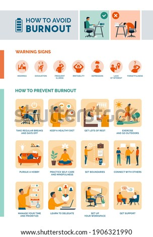 How to recognize and avoid burnout infographic: how to prevent burnout and self care healthy lifestyle tips Stock foto ©