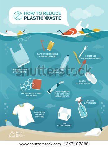How to reduce plastic pollution in our oceans infographic with floating objects polluting water, sustainability and environmental care concept