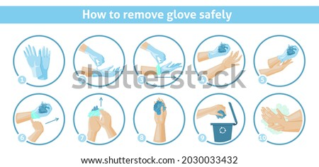 How to remove disposable gloves safely tips, vector infographic. Recycle disposable rubber gloves. Ppe, personal hygiene.