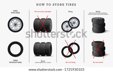 How to store tires . Tips for Storing Your Spare Tires. Tire service banner. Tires, car wheels poster.  Tire service or garage poster. Car tire shop. Tire Shop Concept.