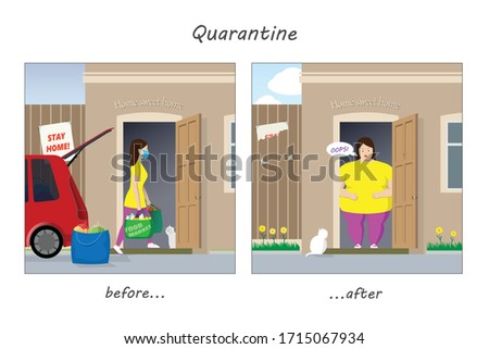 How to survive quarantine and not get fat? Girl before and after COVID-19 coronavirus quarantine. Obesity. Caricature of a sedentary lifestyle during the period of self-isolation. Vector illustration