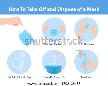 How to take off and dispose of a mask for prevent corona virus, Health care concept. Foto stock ©