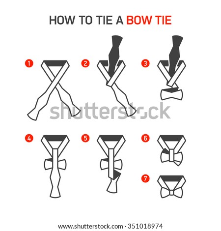 How to Tie a Bow Tie instructions. Vector.