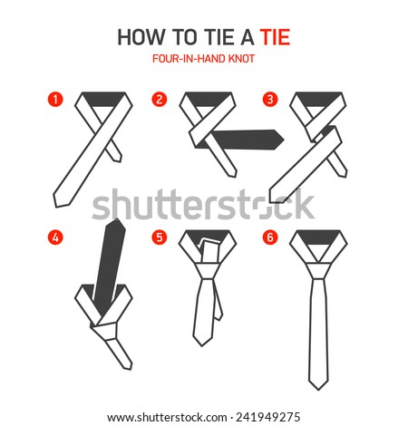 how to tie a four in hand tie...