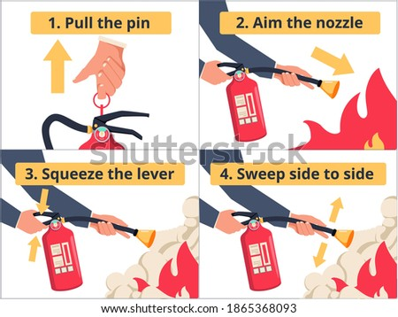 How to use a fire extinguisher PASS labeled instruction vector illustration. Safety manual demonstration visualization with all process steps explanation. Emergency flames equipment usage infographic. Foto d'archivio ©