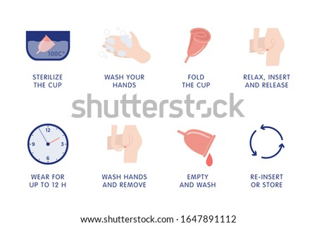 How to use and store menstrual cup vector instruction. Personal feminine hygiene items. Vector flat cartoon illustration