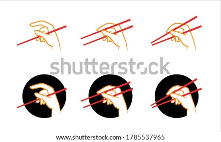 How to use chopsticks, simple vector illustration guide Foto stock ©