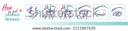 How to use contact lenses. How to put in lenses poster. Vector illustration