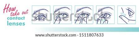 How to use contact lenses. How to take out lenses poster. Vector illustration for your design