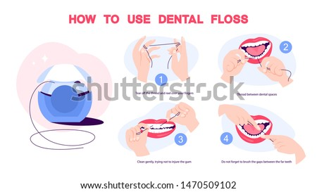 How to use dental floss instruction. Oral health care concept. Mouth and teeth hygiene. Isolated vector illustration in cartoon style Photo stock ©