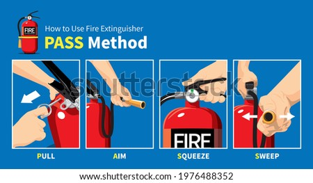 How to Use Fire Extinguisher PASS Safety Manual  Stockfoto ©