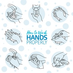 How to wash your hands properly. Vector illustration of Handwashing. Hands soaping and rinsing