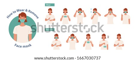 How to wear and remove a mask correct. Women presenting the correct method of wearing a mask,To reduce the spread of germs, viruses and bacteria. Vector illustration in a flat style
