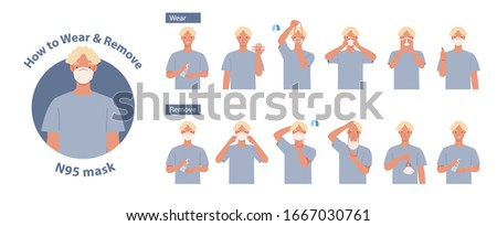 How to wear and remove N95 mask correct. Man presenting the correct method of wearing a mask,To reduce the spread of germs, viruses and bacteria. Vector illustration in a flat style