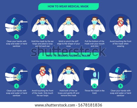 How to wear medical mask and How to remove medical mask properly. Step by step infographic illustration of how to wear and remove a surgical mask. Flat design illustration.