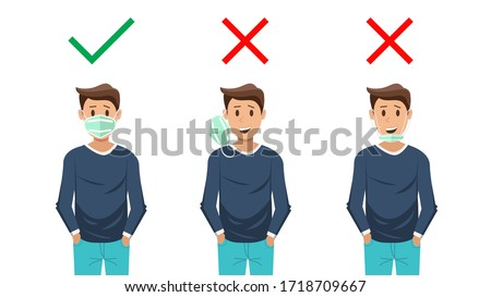 How to wear the correct facemasks and the wrong , Shows how to wear a face mask correctly. In order to prevent the spread of the coronavirus and Covid-19 disease. vector illustration.