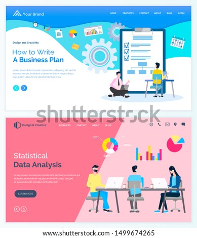 How to write business plan, statistical data analysis board with done marks and people at table discussing sales and trades. Vector website or webpage template, business application template