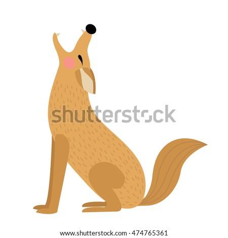 howling coyote animal cartoon